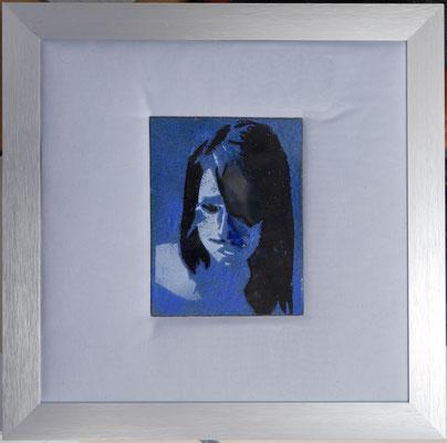 ong. 10x15 in lijst30x30 meisje in blauw 2 € 125