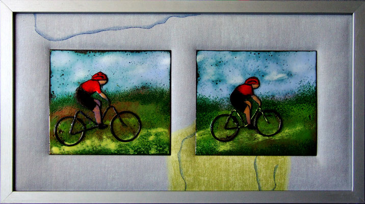 ong. 20x40cm twee fietsers-verkocht