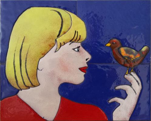 ong. 20x30cm meisje met vogel - VERKOCHT