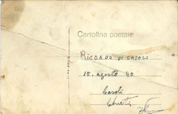 Retro della foto/cartolina postale