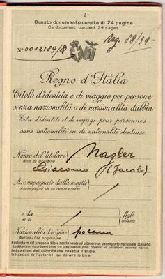Passaporto apolide di Giacomo Nagler (Kubi) 1