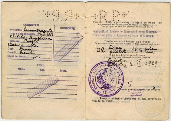 Passaporto polacco di Salo Nagler e Eige 1929 (pag. 3)
