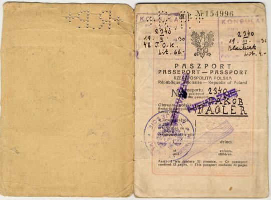 Passaporto polacco di Giacomo Nagler (Kubi) 1929 (pag. 1)