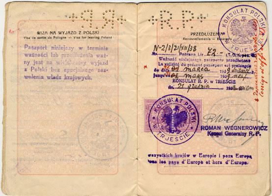 Passaporto polacco di Giacomo Nagler (Kubi) 1929 (pag. 4)