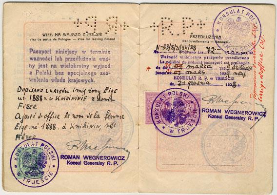 Passaporto polacco di Salo Nagler e Eige 1929 (pag. 4)