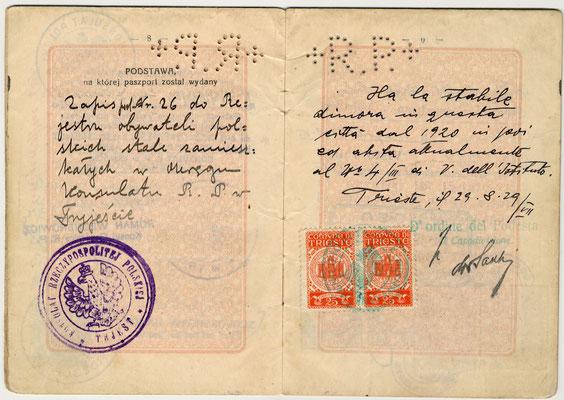 Passaporto polacco di Salo Nagler e Eige 1929 (pag. 5)