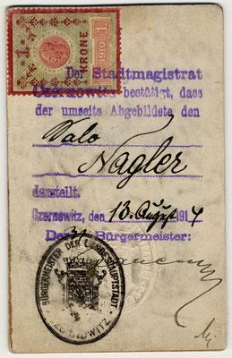 Ritratto di Salo Nagler 1917 retro