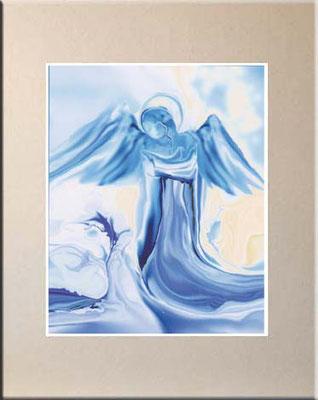 Nr.2 Hellblauer-Engel  Kunstdruck mit Karton-Passepartout, Farbton hellbeige, 60x50 cm oder 40x50 cm, signiert € 55,--    + Porto