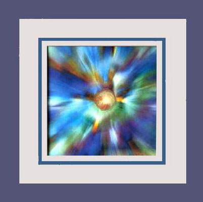 Nr. 5/9 Farbstrahlen  Airbrush auf Spezialpapier Fin Art 50x50 cm inkl. Karton-Passepartout, Glas,Metallrahmen Bronze eluxiert inkl. Rückwand  € 270,-