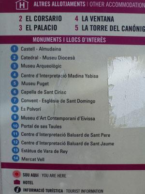 Bild: Kartenerklärung zur Altstadt von Ibiza