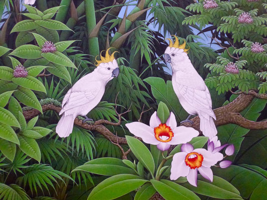 Bild: 2 Vögel zwischen den Pflanzen