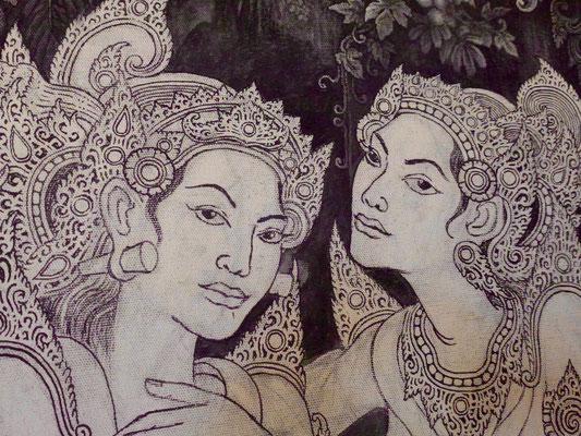 Bild: Gemälde aus der Ausstellung im Tempel Pura Bukit Sari in Ubud auf Bali