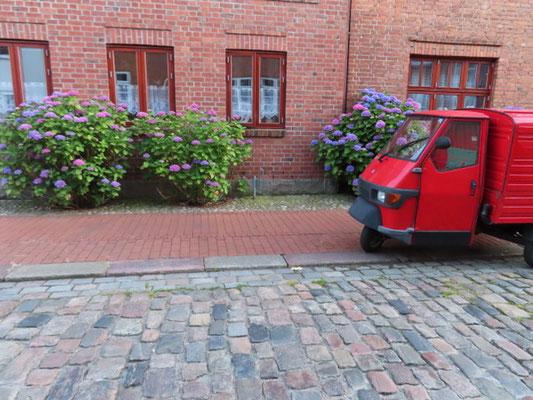 Bild: Blumen vor altem Haus