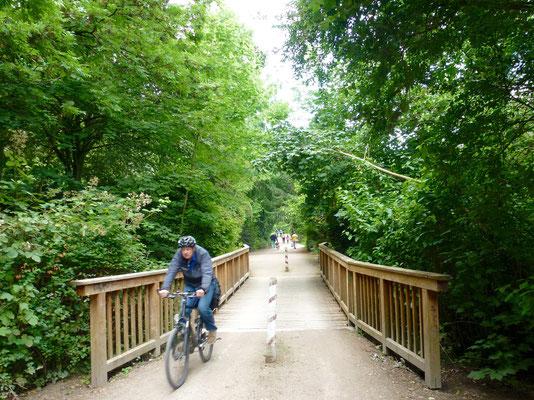 Radfahrer fährt über die Wandsebrücke