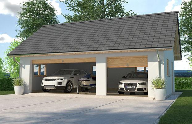 Moderne Garagen galerie moderne fertiggarage mit garagen odnungssystem