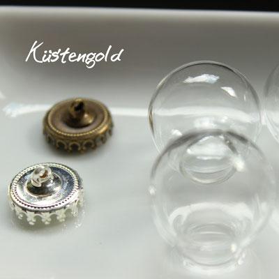 Glaskugel Größe S ∅2cm in silber und vintage
