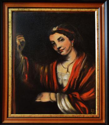 Frauenbildnis mit Rahmen ca. 60 x 50