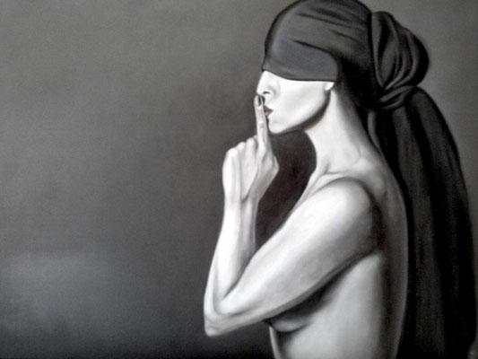 """Don't talk""        80 x 100  Öl auf Leinwand"