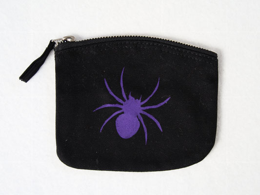 New stencil print zipper pouches - purple spider coin purse - Zebraspider DIY Anti-Fashion Blog