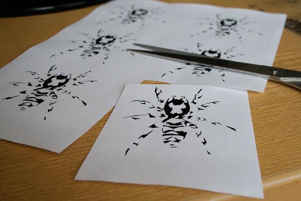 Testreihe - Nitrofrottage vs. Lavendeldruck - Laserdruck - Zebraspider DIY Blog
