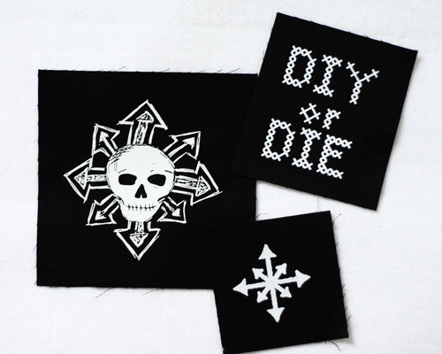 What's new with the patches? - old stock lucky dip white on black - Zebraspider DIY Anti-Fashion Blog