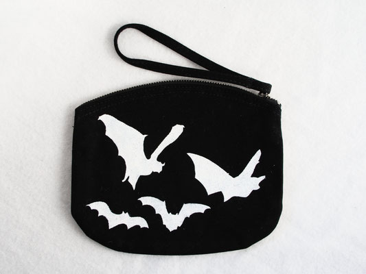 New stencil print zipper pouches - colony of bats white on black - Zebraspider DIY Anti-Fashion Blog