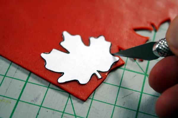Halloween DIYs Part 1 - cutting leafs from wax sheets - Zebraspider Eco Anti-Fashion