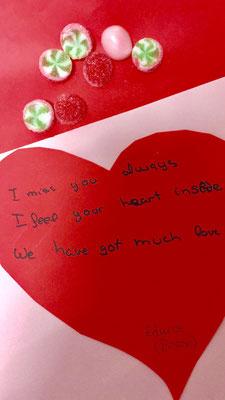 """I always miss you, I feel your heart inside, we have got much love"" Edurne del grupo Boston."