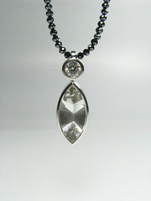Diamantkette mit Brillant und Rauchquarz in Weißgold