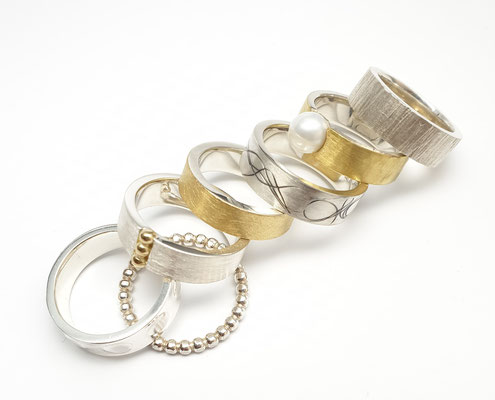 Ringe in Silber mit Feingold