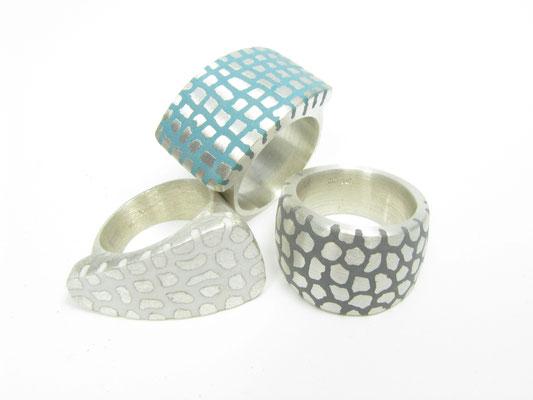 Ringe in Silber mit Kunststoff