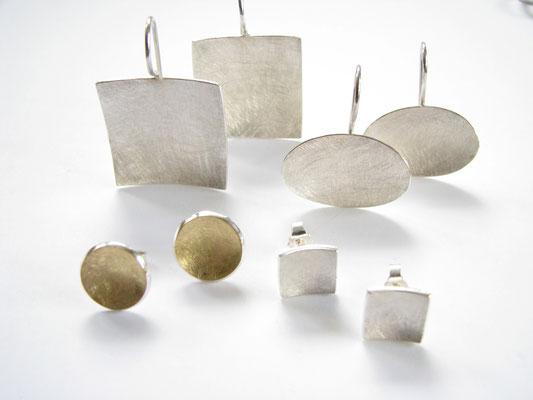 Ohrringe in Silber mit Freingold