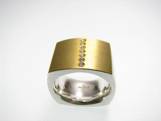 Ring in Silber mit Gelbgold und Brillanten