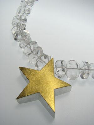 Bergkristallkette mit Silber und Feingoldstern
