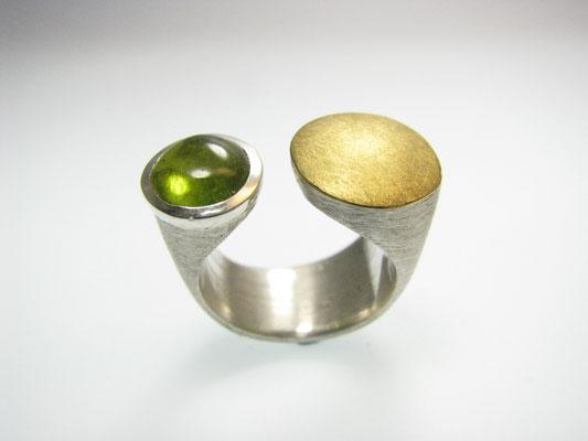 Ring in Silber mit Feingold und Turmalin