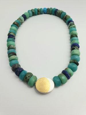 Kette in diversen Edelsteinen mit Silber/Gold Verschluß