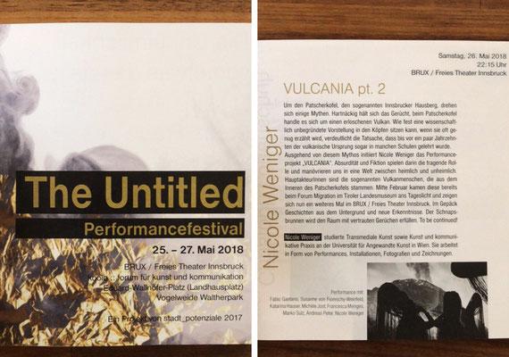 Booklet: THE UNTITLED Performancefestival im BRUX / Freies Theater Innsbruck // Mai 2018