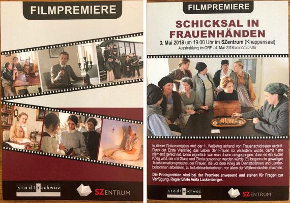 """Flyer zur Filmpremiere """"Österreichs Schicksal in Frauenhand"""" (Stadtzentrum Schwaz Mai 2018)"""