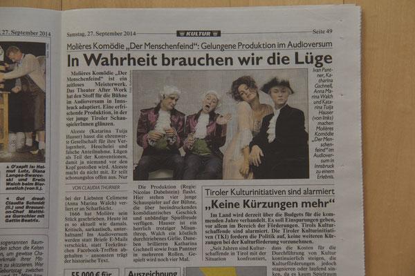 """Kronenzeitung """"Tiroler Krone"""" vom 27. September 2014"""