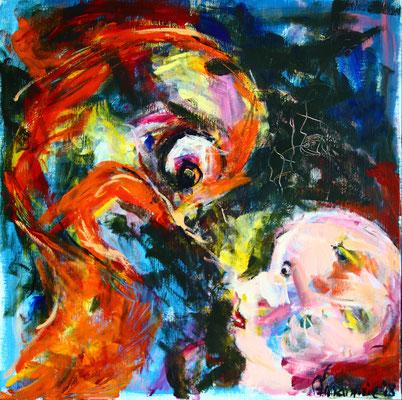 """Zusterliefde / Sister Love""  |  80x80 cm  |  Acryl op linnen"