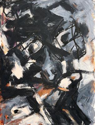 """Donkere blik""  |  36 x 48 cm  |   Acryl op papier"