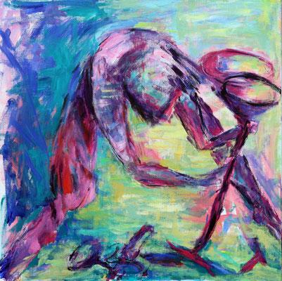 """Houvast"" n.a.v. werk H.Middendorf (1980)  |  80 x 80 cm  |  Acryl op linnen"