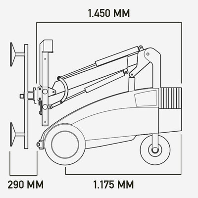 Glasroboter Winlet 350 Abmessungen