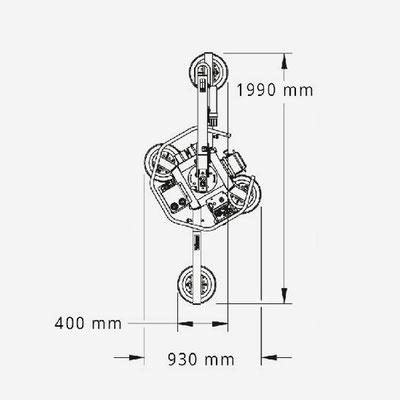 Vakuum Glassauger MRT4 Maße
