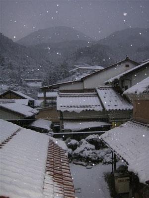 裏庭(土蔵)と青野山