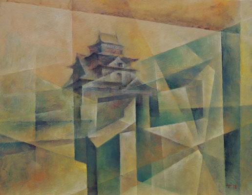 akira nakao Öl auf Japanpapier, 32x41cm, Burg, Matsue/松江城