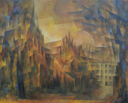 WV1345: Trinitatis-Kirche, Karl-August-Platz, Charlottenburg, 2021, 40x50cm