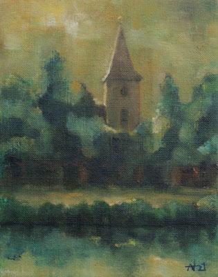 WV1342, Dorfkirche Falkenhagen, Falkensee, 2021, 18x14cm