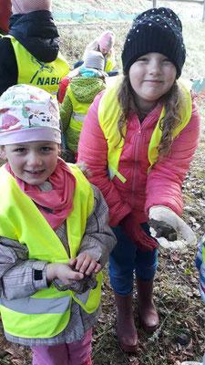 Friederike und Rosalie trauen sich eine Kröte auf die Hand zu nehmen.