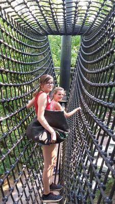 Elisa und Katharina im Baumwipfelpfad.
